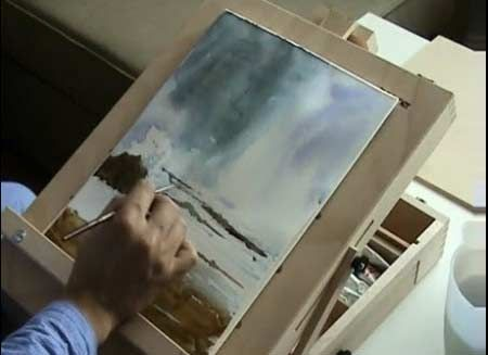 Painting a Seascape in Water color part 1 - Video Lessons of Drawing  Painting
