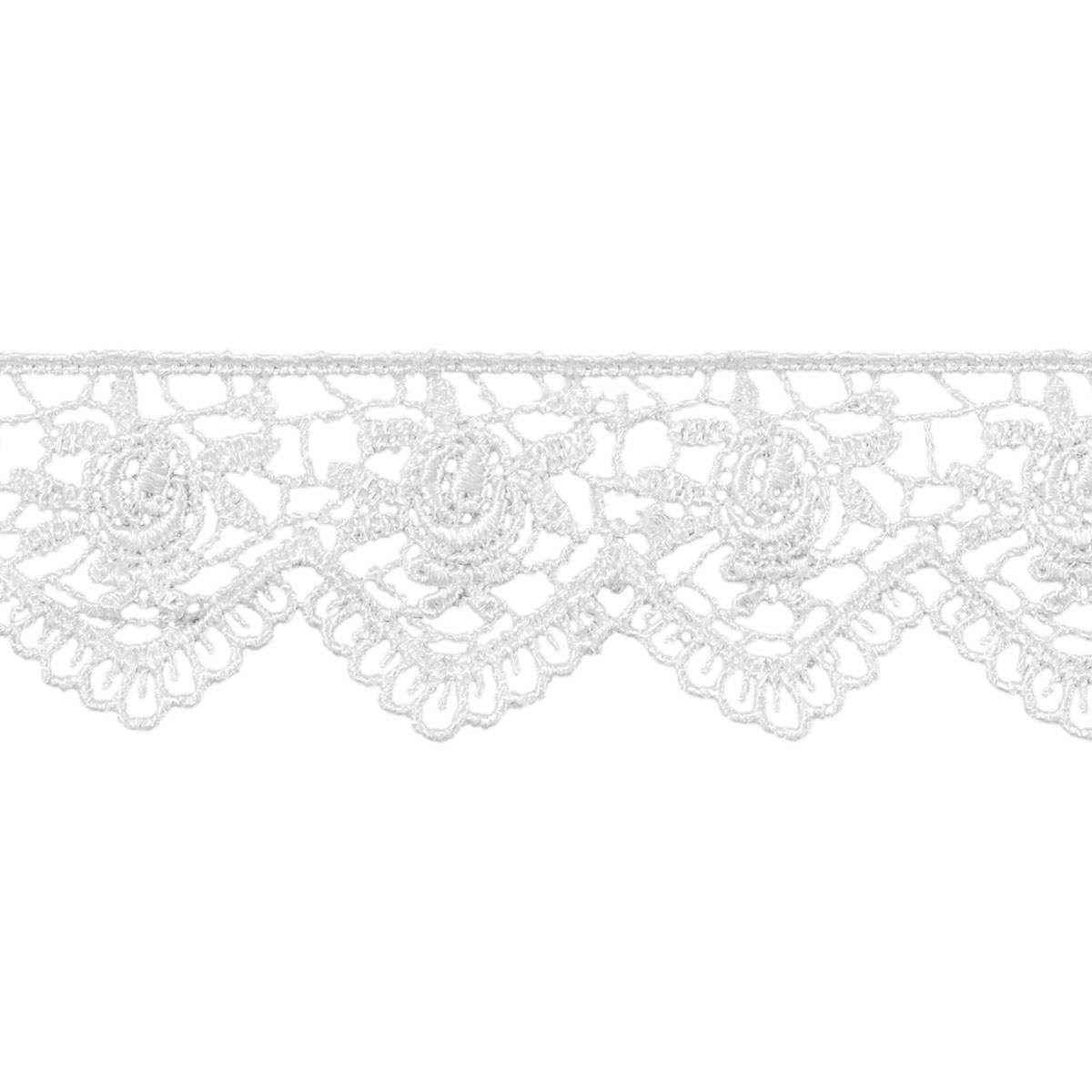 Wrights Venice Rose Scalloped Trim 1.25''x45' White