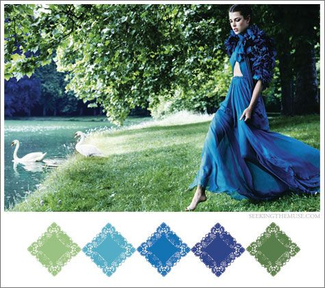 Color board based on Mario Testino photo with blues and greens.