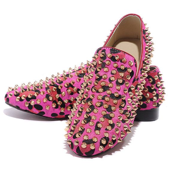 Christian Louboutin Rollerboy Spikes Loafers Rose Matador