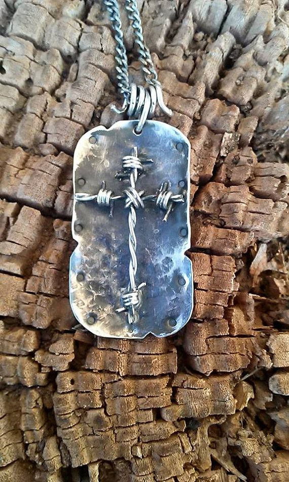 Hammered dog tag style sterling silver barbed wire cross pendant hammered dog tag style sterling silver barbed wire cross pendant audiocablefo