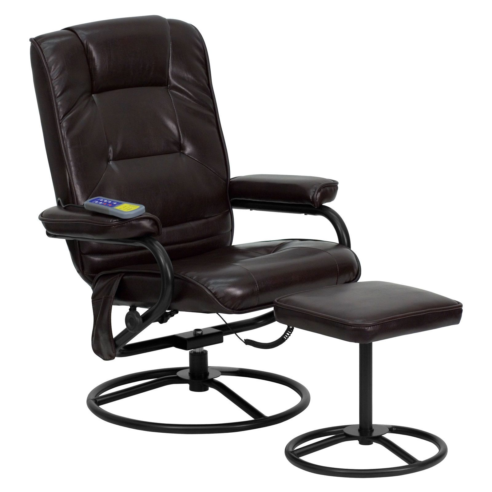 195.49 Massaging Brown Leather Recliner and Ottoman