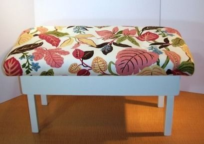 (ignore the fabric, just read the instructions) turn a coffee table into an upholstered bench