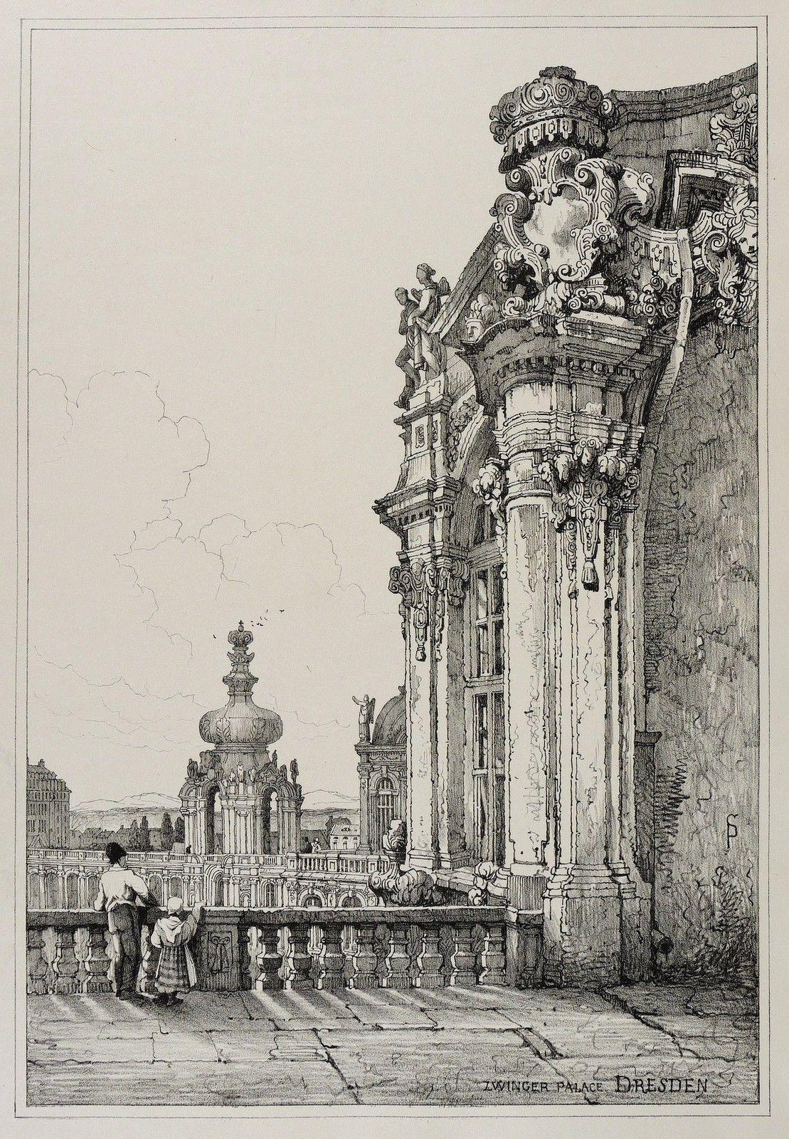 Dresden Zwinger Kronentor Samuel Prout Lithografie 1833 Ebay Lithografie Dresden Barock