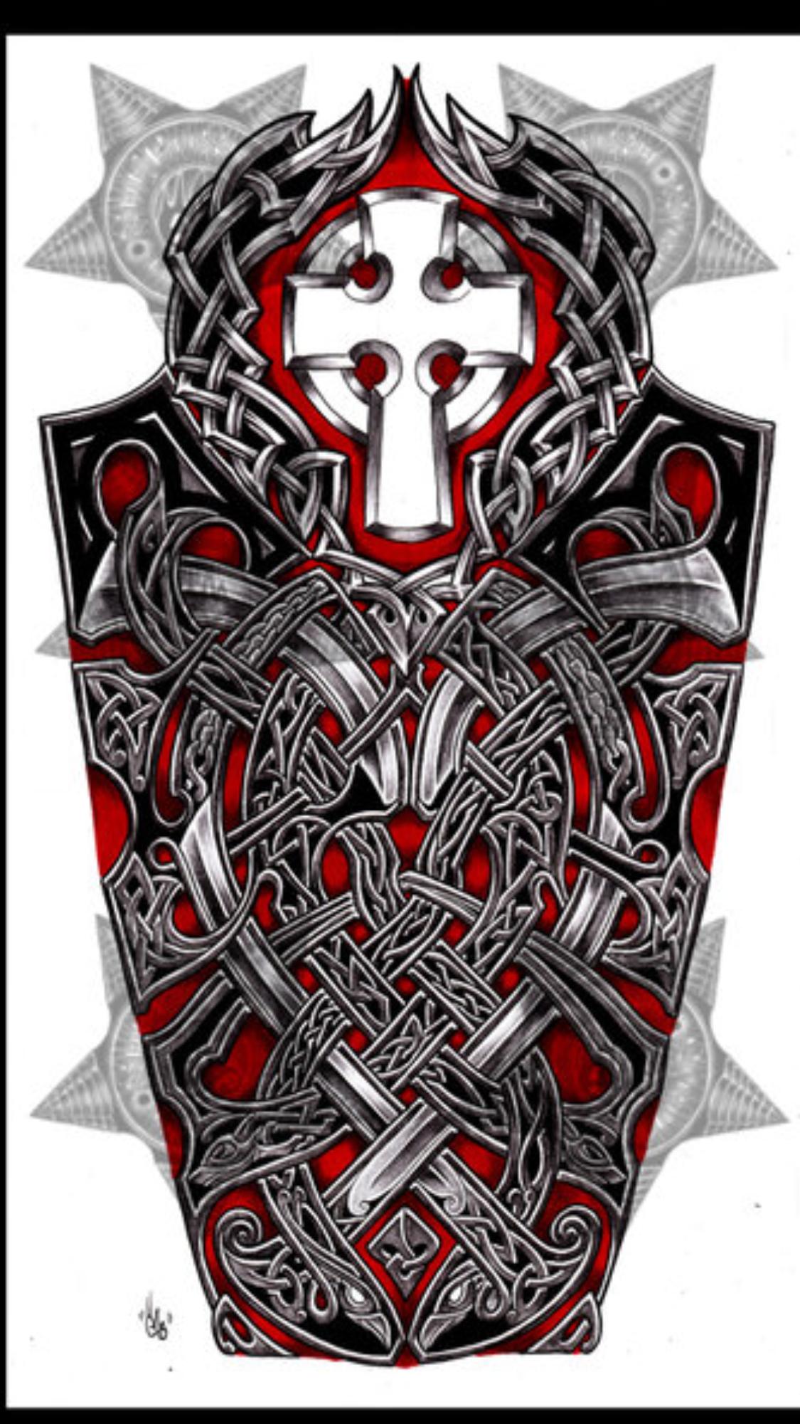 Wolf S Cross Viking Pagan Tatuagem Masculina Tatuagem