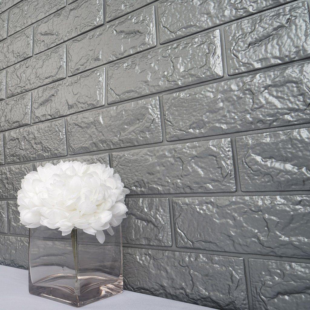 Pack Of 10 58 Sq Ft Metallic Silver Foam Brick Wall Tiles Peel And Stick 3d Wall Panel Room Decor Faux Walls Wall Paneling Brick Wall
