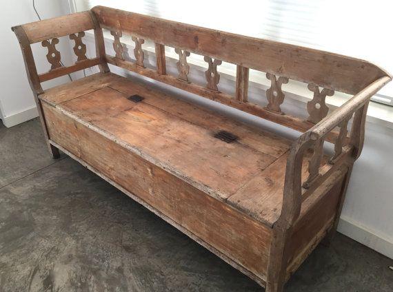 Antique European Pine Storage Bench Box By Aforkintheforest