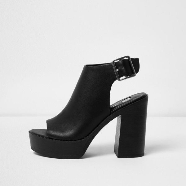 Womens Black peep toe platform sandals River Island g56HcFM9F
