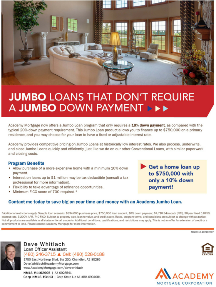 Academy Mortgage's 10% Down Jumbo Loan Program flyer ...