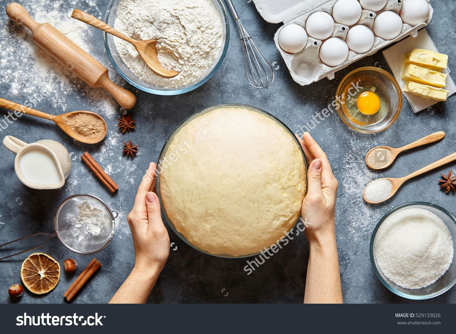 Hands Working With Dough Preparation Recipe Bread Pizza Or Pie