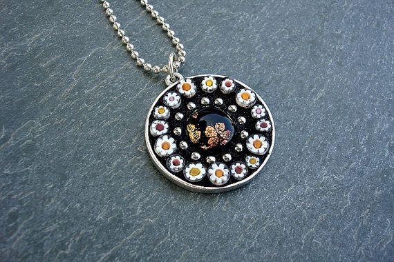 Pushing Daisies-Mosaic glass artisan pendant