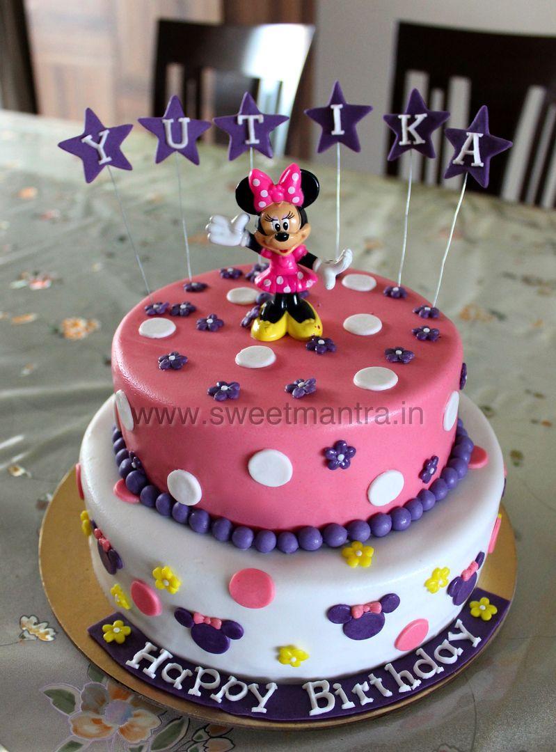 Homemade Eggless 3DCustom 2 tier Disney Minnie theme birthday cake