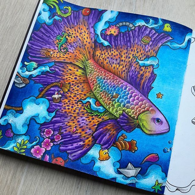 Animorphia Kerbyrosanes Fish Fantasy Colorirlivros Imagination Coloringbook