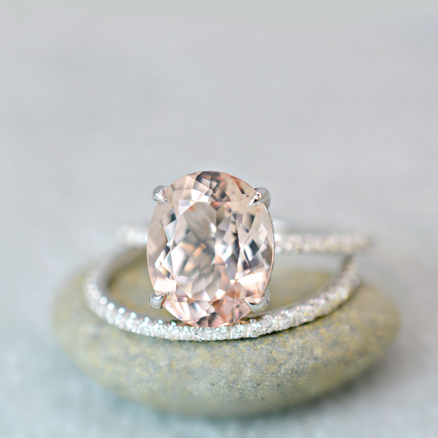 3 40 Ct Oval Cut Morganite & Diamond Engagement Ring on 14K White