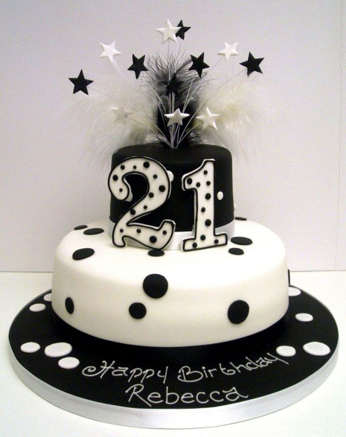 Polka Dot Cake Decorating Ideas Black And White 21st Birthday