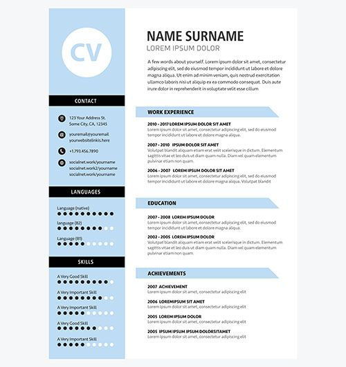 Minimalist Cv Template Blue Color  Design Templates