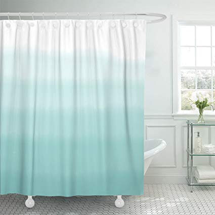 Amazon Com Emvency Shower Curtain Teal Dip Turquoise Green Ombre