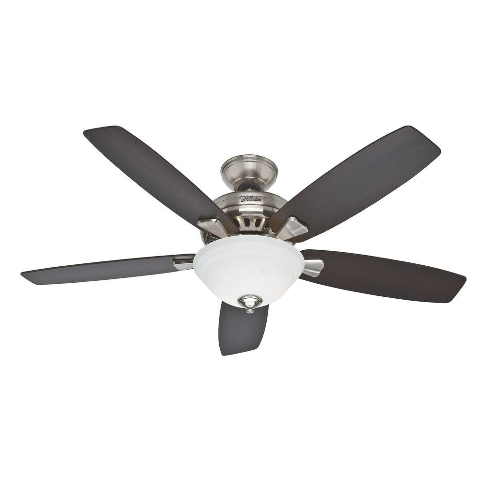 Hunter Banyan 52 In Brushed Nickel Ceiling Fan 53175 At The Home Depot Ceiling Fan With Light Ceiling Fan Brushed Nickel Ceiling Fan