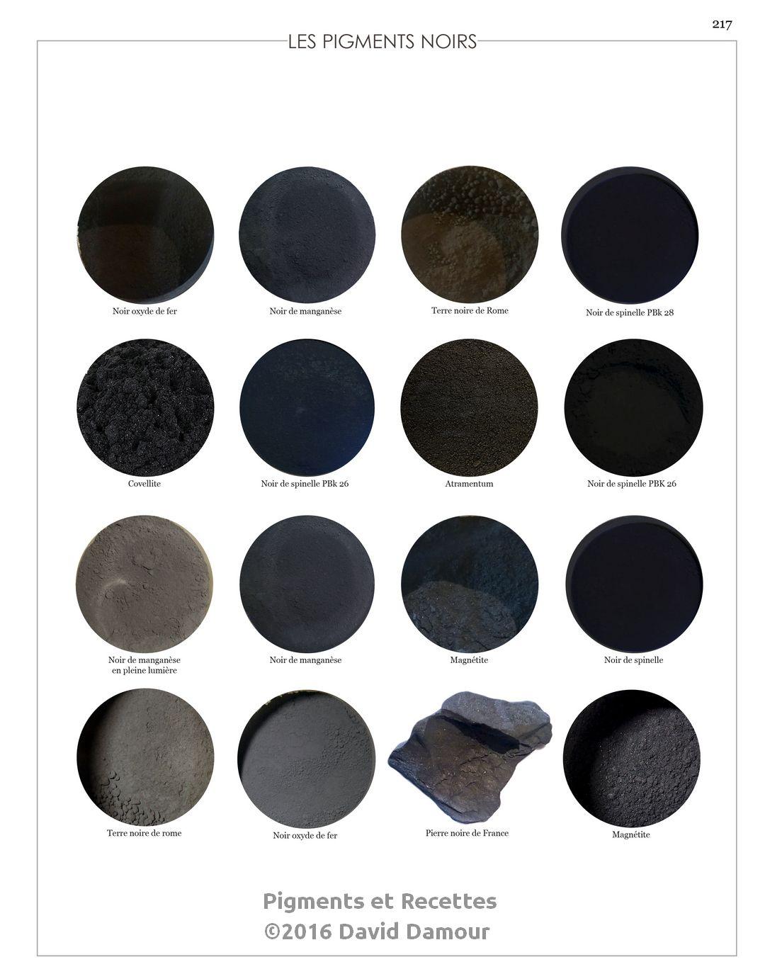 Les pigments Noirs du livre Pigments et Recettes Les secrets du métier de l'artiste peintre du XXIe disponible sur https://pigmentsrecettes.com