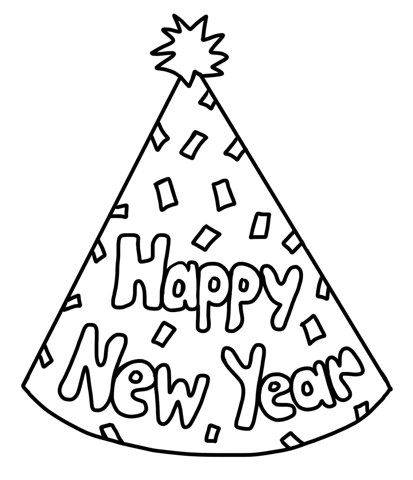 C C Teach First Happy New Year Party Hat Freebie New Year Coloring Pages New Year S Eve Crafts New Years Hat