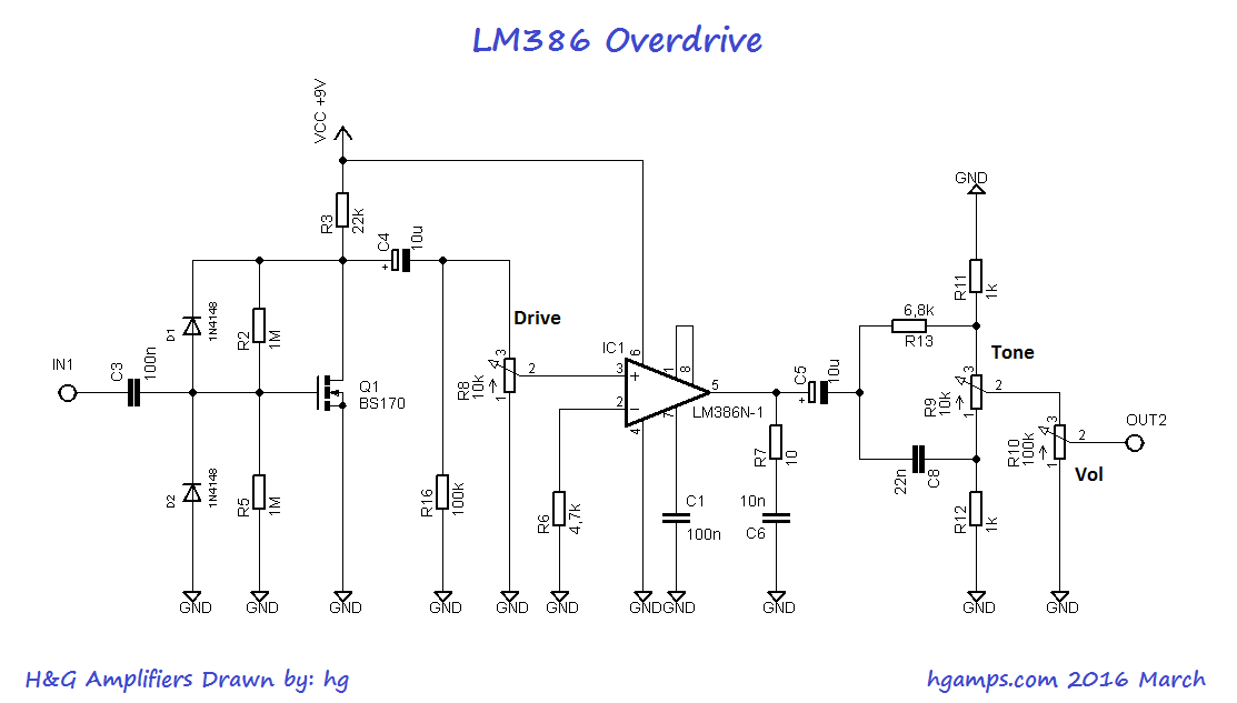 The LM386 Overdrive effect. The popular audio amplifier