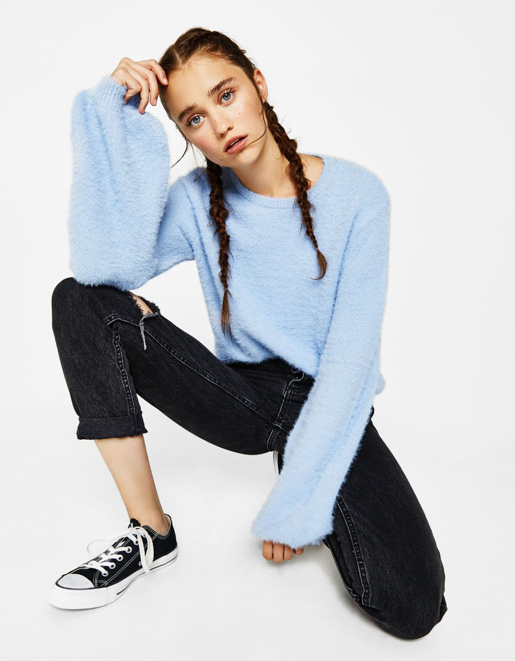 Fluffy sweater with puffy sleeves - Knitwear - Bershka United States ... 1de24af4c