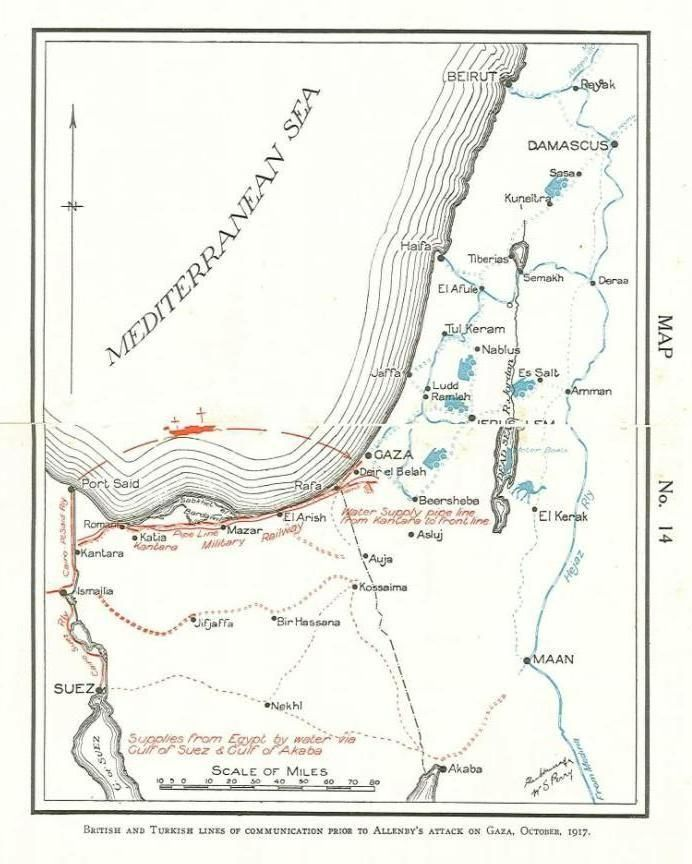 British and Turkish lines of communication prior to Allenby's attack on Gaza, Oct. 1917