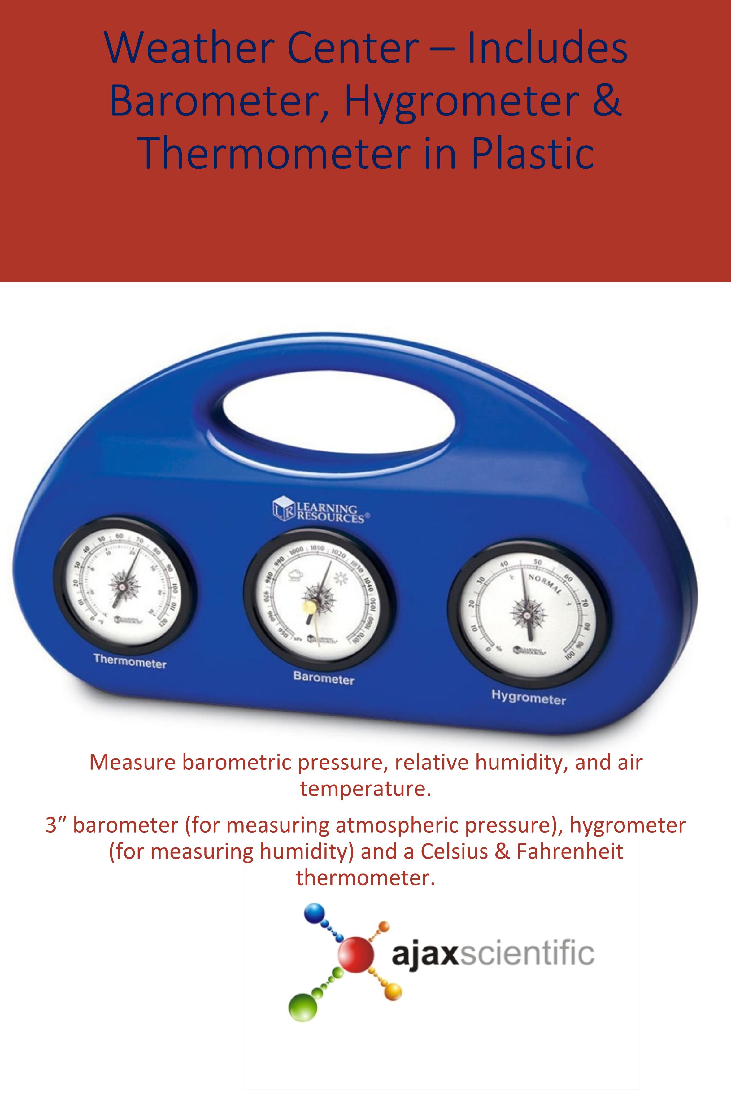 Weather Center Includes Barometer Hygrometer Thermometer In Plast Ajax Scientifc Ltd Hygrometer Weather Center Barometer [ 3543 x 2361 Pixel ]