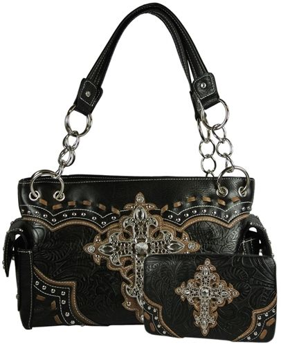028fb11e22f4 Western Style Purse Set- Satchel Handbag Tooled Faux Leather with Rhinestone  and Filigree Cross and Studs Includes Matching Flat Wallet- Available in 3  ...