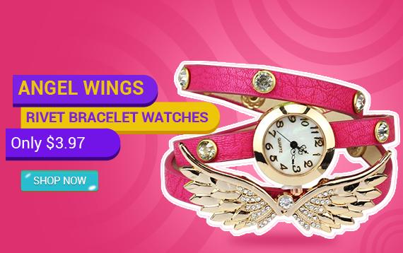 Vintage Leather Strap Angel Wings Rivet Bracelet Watches Wristwatch HP
