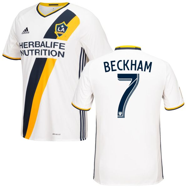 separation shoes 55b0d cf058 David Beckham 7 LA Galaxy 2016/17 Home Soccer Jersey White ...