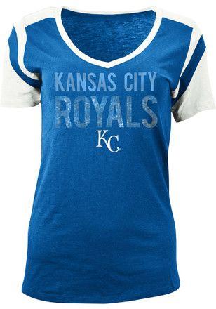 2344438a KC Royals Womens Blue Slub V-Neck | MLB - Kansas City Royals ...