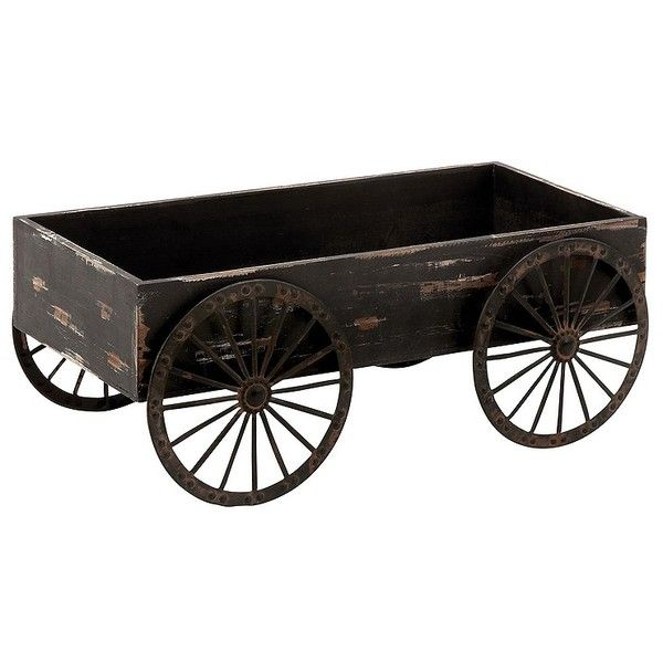 Distressed Black Cart Planter ($50) ❤ Liked On Polyvore Featuring Home,  Outdoors,