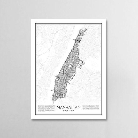 Manhattan New York City Map Print Minimal Wall Art Office Home