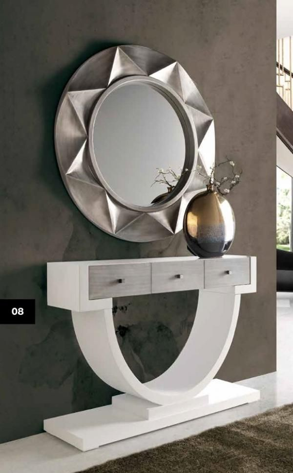 £680 Bolonia Console Table In White And Silver Finish With A Miroor