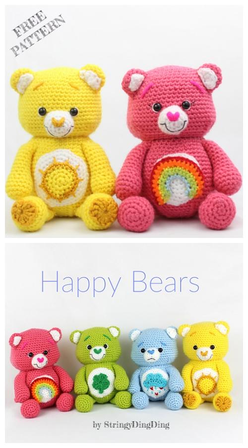 Crochet Happy Bears Amigurumi Free Patterns - DIY Magazine #crochetteddybears