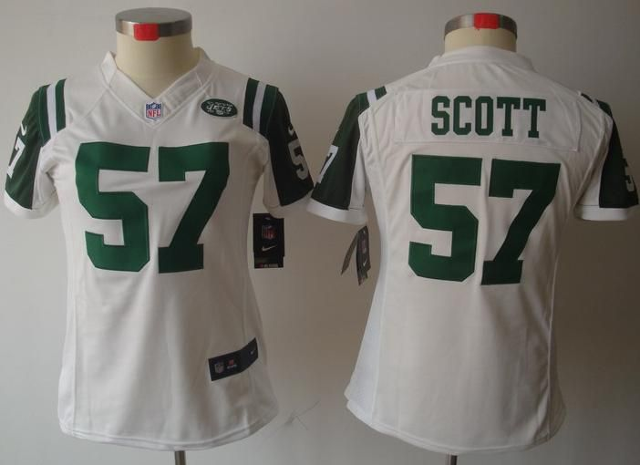 ladies new york jets 57 bart scott nike white stitched nfl limited jersey
