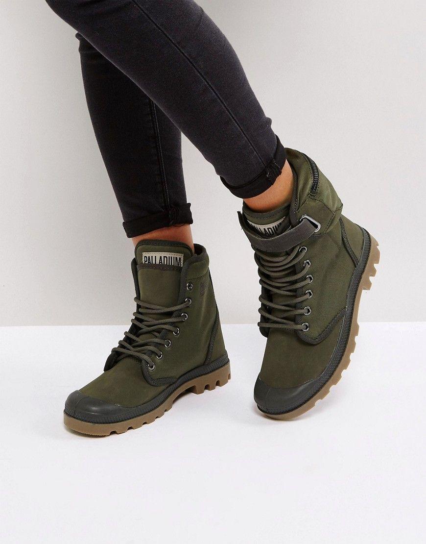 PALLADIUM SOLID RANGER KHAKI TWILL FLAT ANKLE BOOTS - GREEN.  palladium   shoes   e20e436ec30