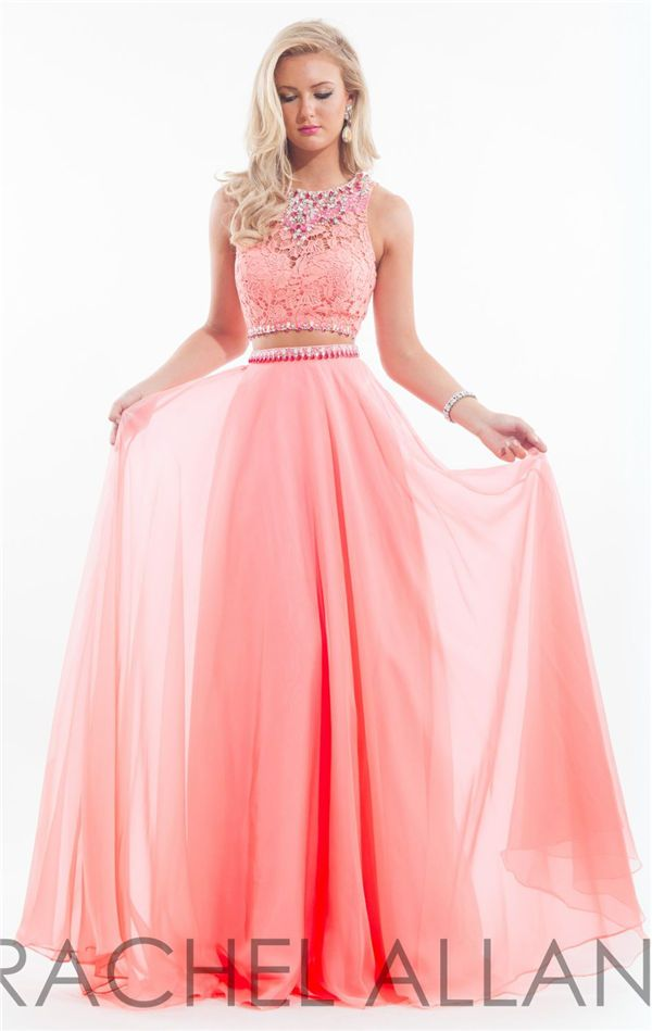 Soft Coral Two Piece Prom Dresses Long By Rachel Allan 6889 Pink