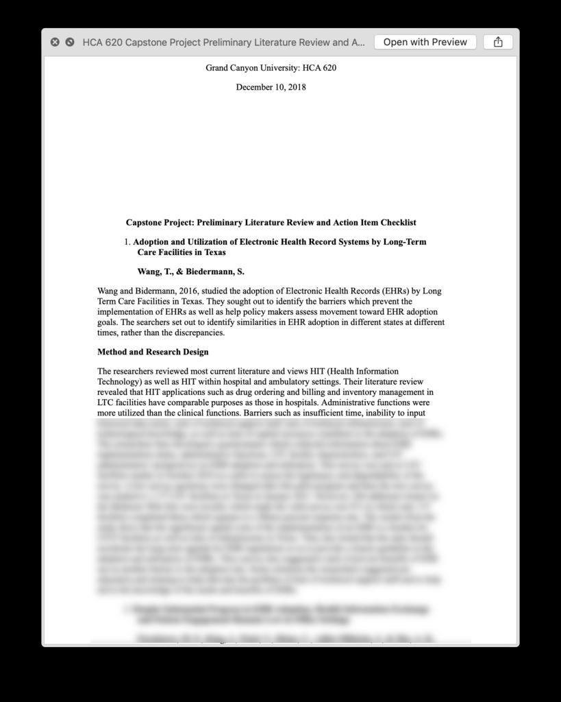 HCA 620 HCA620 Capstone Project Preliminary Literature