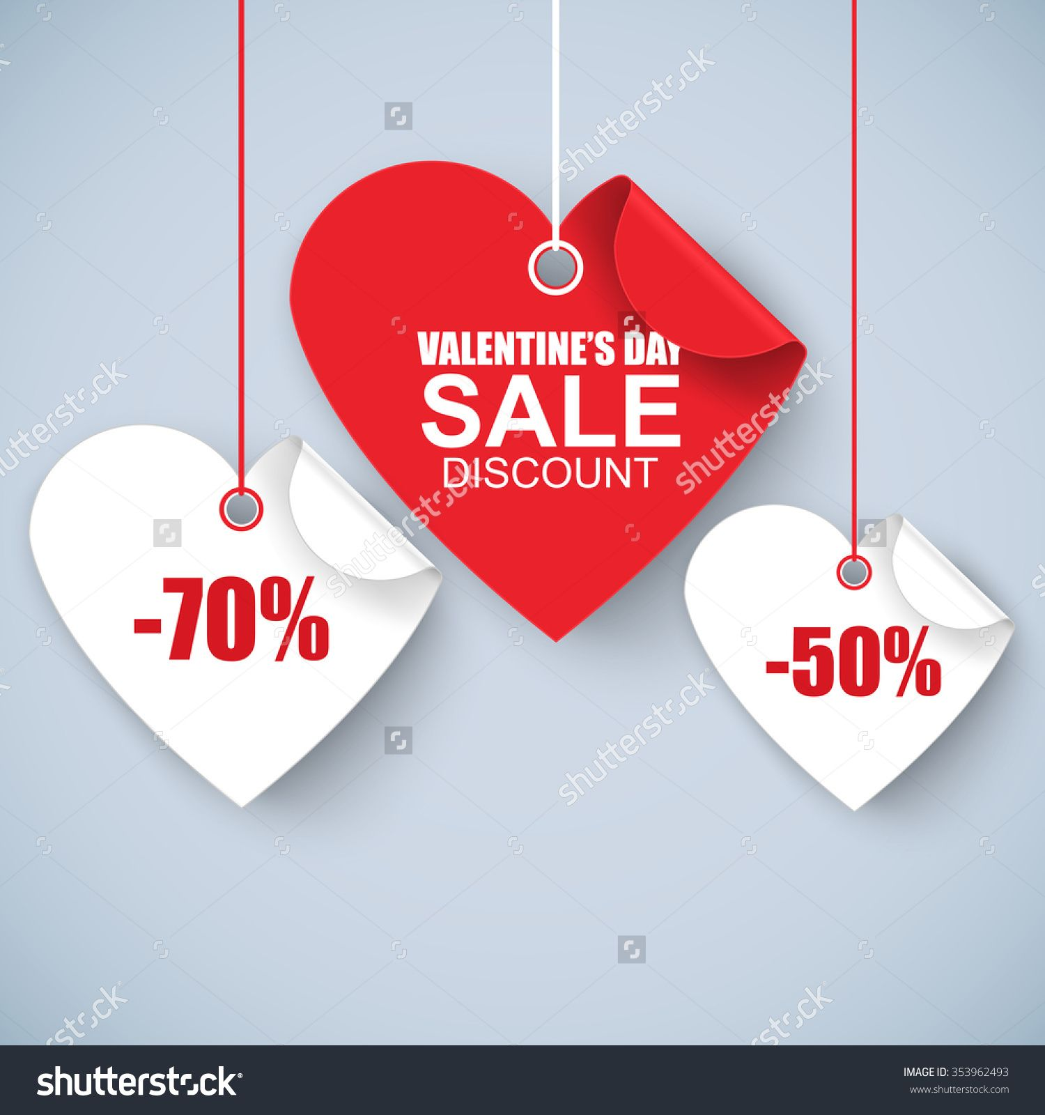 Valentines Day Heart Sale Tag Poster Template Red Twisted Heart