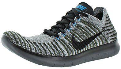 3ae4895b39d8 Nike Men Free Rn Flyknit Running (cargo khaki black-blue glow-dark grey)  Size 10.5 US Review
