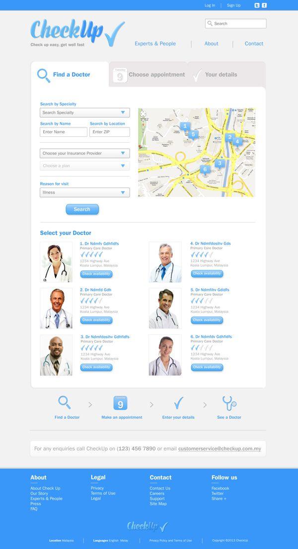 Check Up On Behance Web Design Healthcare Provider Find A Doctor
