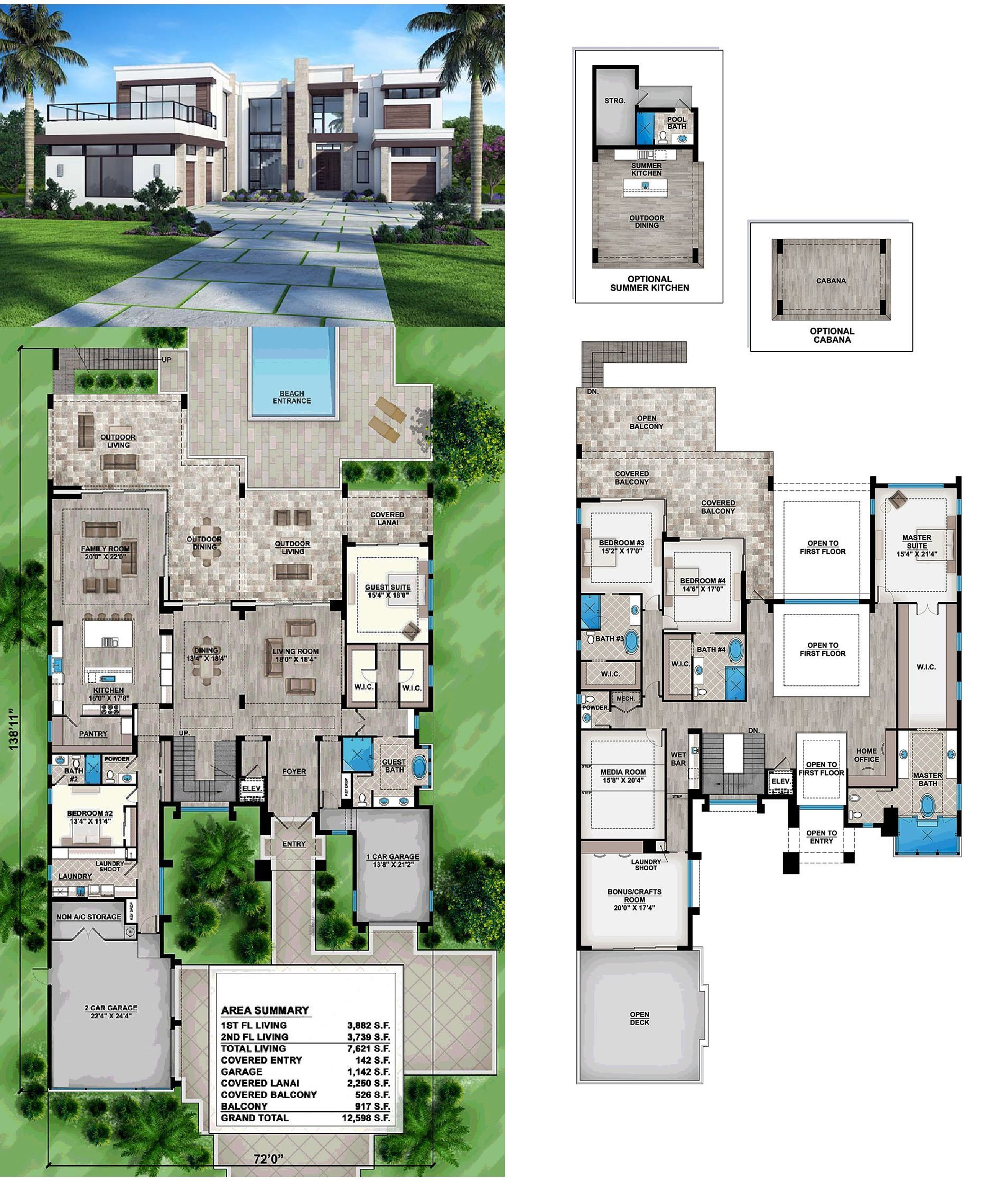 Modern Style House Plan 52929 With 5 Bed 7 Bath 3 Car Garage House Plans Mansion Modern Style House Plans Modern House Floor Plans