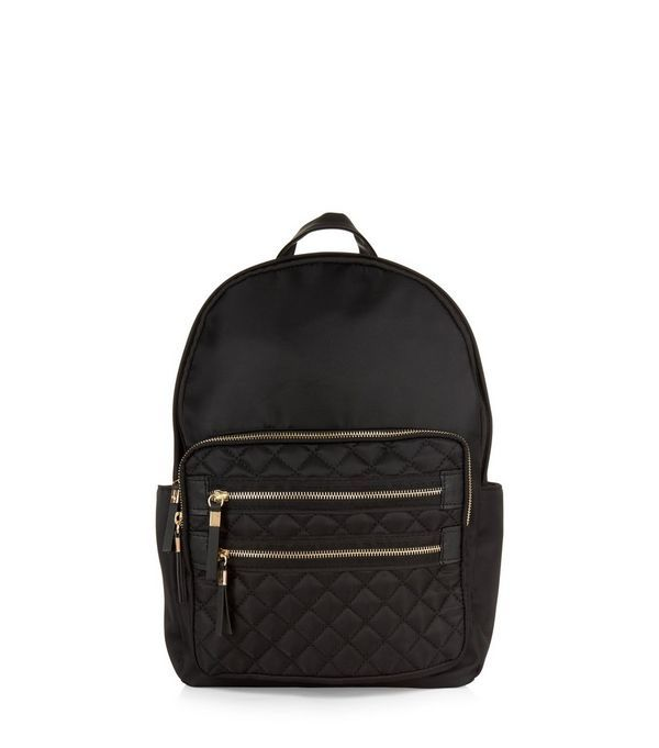 Quilted Pocket Front Backpack   college and school bags - handbags ... : black quilted rucksack - Adamdwight.com