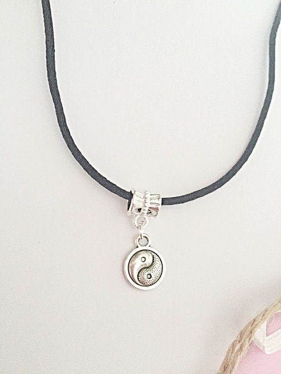 Yin Yang Necklace Black Cord Necklace Chinese By Emmafleet Jewelry