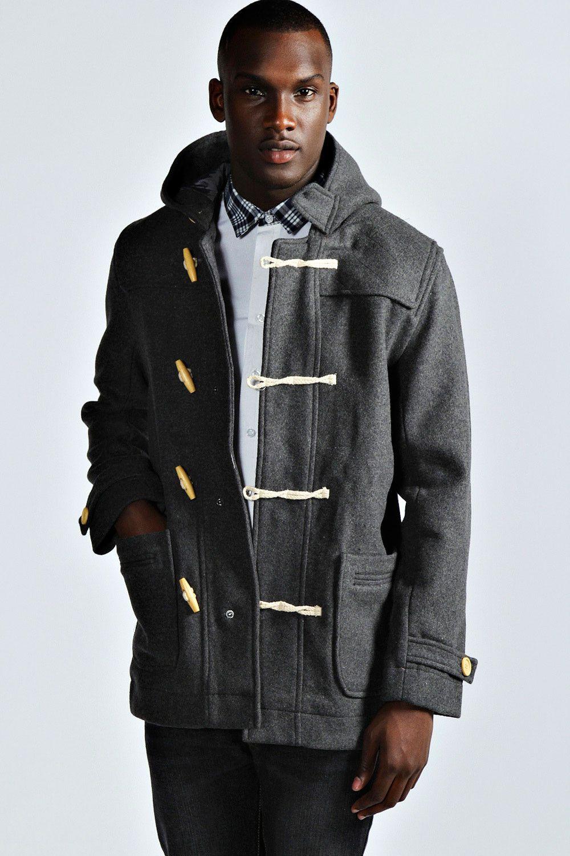 Men's Grey Duffle Coat, White Long Sleeve Shirt, Charcoal Jeans ...