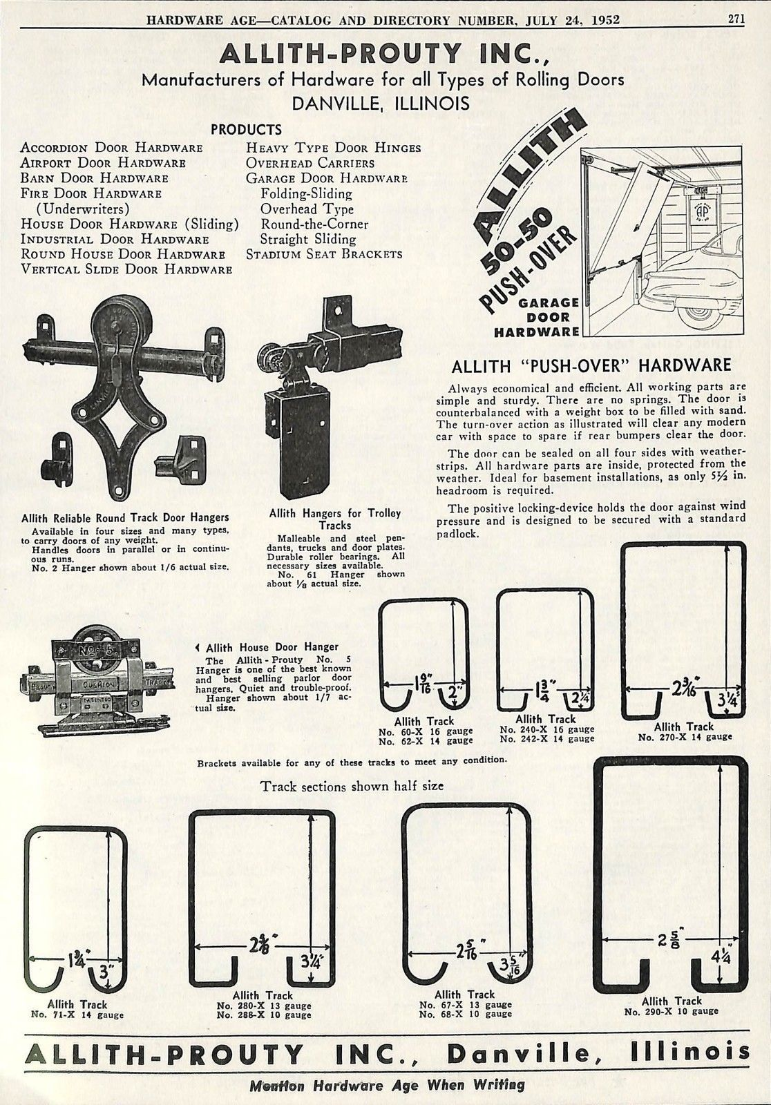 1952 Allith Prouty Rolling Door Hangers Track Ad Danville Il Illinois Rolling Door Garage Door Hardware Danville