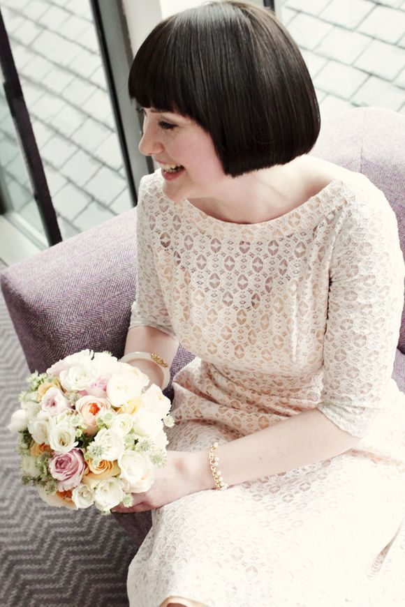 0e838261d Original 1960s short white vintage wedding dress worn with white tights.  Photography by http