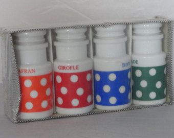 Polkadot Retro Spice Jars Seventies Set of 4